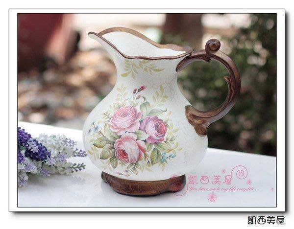 凱西美屋 鄉村玫瑰手繪花瓶 大肚花瓶