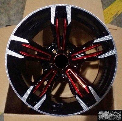 【CS-187】全新鋁圈 類M6 18吋 5孔120~114~100~108 黑底車面+陽極紅 BMW E90 實裝圖