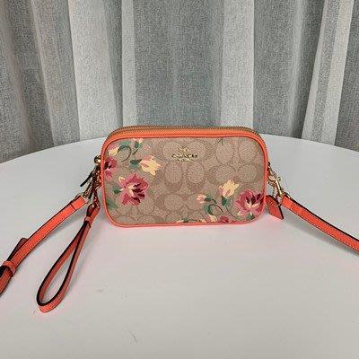 恬恬精品 COACH 73007  織布雙拉鍊斜背包 雙層相機包 拉鏈側背包 內置隔層側背包 女包
