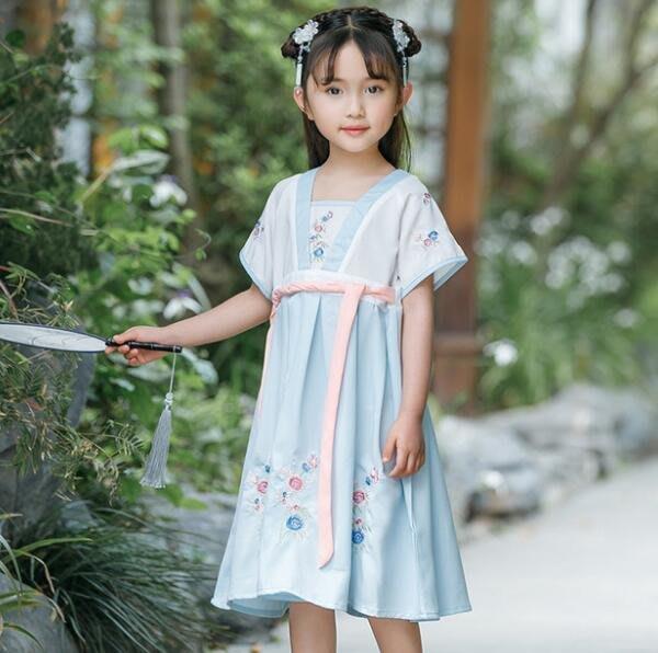 莎芭 女童漢服 中國風襦裙仙女飄逸古風兒童古裝演出服小女孩唐裝 110-160cm