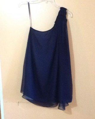 Alice+Olivia 藍黑色/絲質/單肩/斜肩 洋裝
