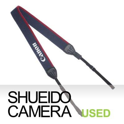 集英堂写真機【1個月保固】中古美品 / CANON 原廠 相機背帶 藍 / 紅 EOS 5D 6D 7D適用 13204