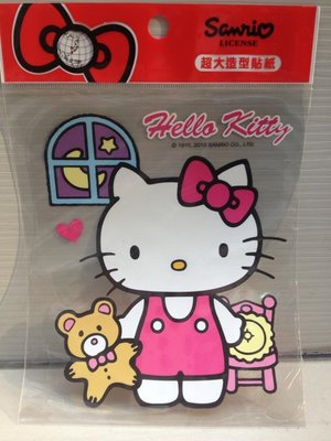 阿虎會社【J - 198】正版 Hello Kitty 凱蒂貓 拉著小熊 貼紙 壁貼 妝飾貼 造型貼 牆壁貼