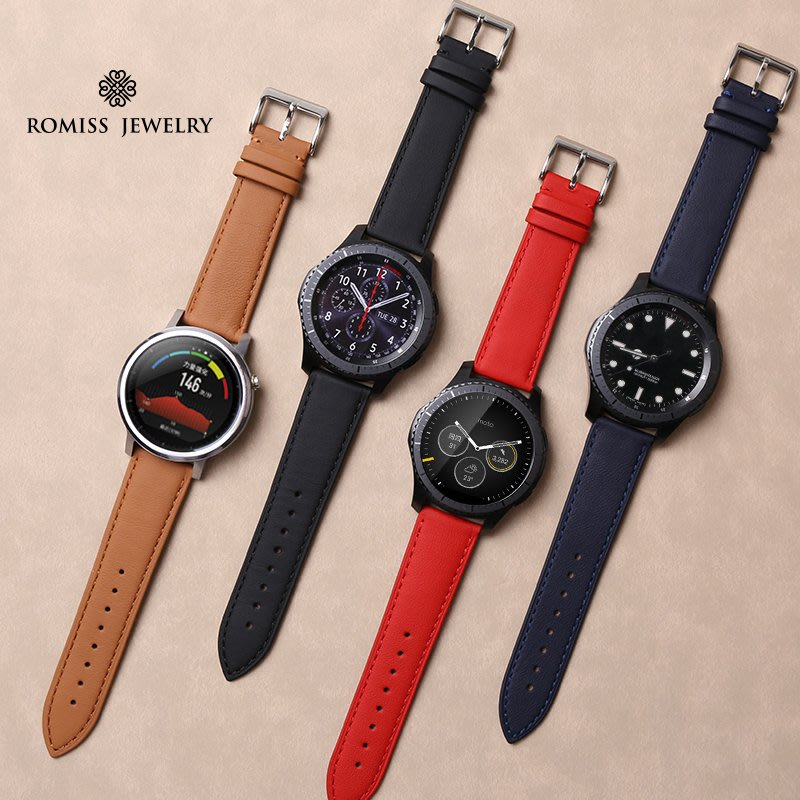 Moto360 2代46MM 手錶錶帶 法拉利皮革真皮 頭層牛皮 智能手錶帶 替換腕帶 時尚簡約 商務型手錶帶