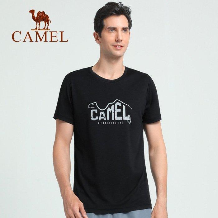 時尚服飾駱駝戶外夏季速干衣圓領印花T恤彈力短袖男士運動體恤衫T8S209232