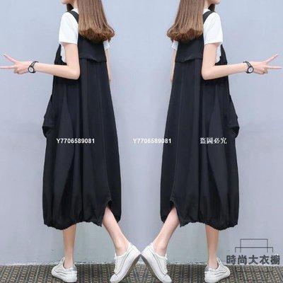【獨家新品】大碼吊帶裙休閒背帶裙寬鬆連身裙