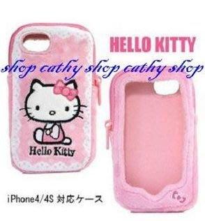 *凱西小舖*日本進口三麗歐正版KITTY凱蒂貓絨毛拉鍊式全包I PHONE 4保護套*出清特價