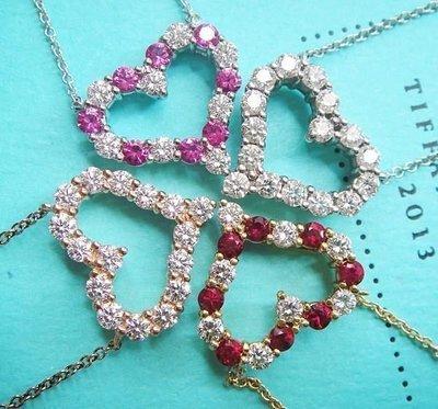(全新) Tiffany PT950 粉紅寶+鑽石 水蜜桃愛心鑽石項鍊