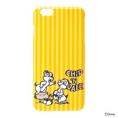 尼德斯Nydus~* 日本迪士尼 花栗鼠 奇奇 蒂蒂 硬殼 手機殼 5.5吋 iPhone6+ 黃色條紋 素面燙金款