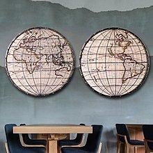 北歐複古鐵藝工業風世界地圖掛件客廳背景牆裝飾畫酒吧立體壁飾(2個一組2款可選)