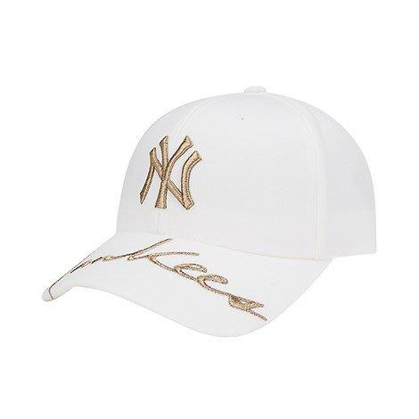 預購 特價【韓Lin代購】韓國 MLB 金色NY刺繡 帽沿YANKEES刺繡白色棒球帽 CPIK 32CPIK011
