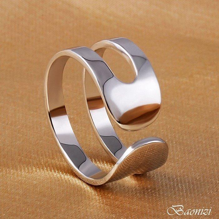 《現貨》 國際925純銀戒指 二層二線 素銀光面 簡約個性 開口戒  男女同款 生日情人聖誕節禮物 寶妮子Baonizi