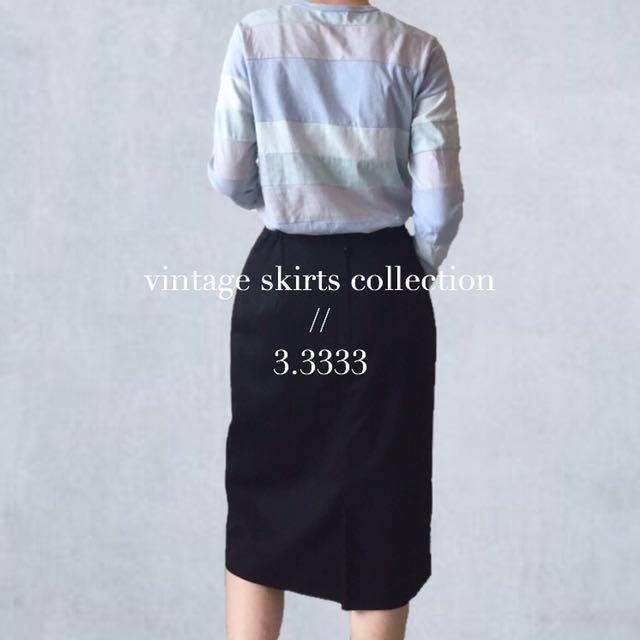 - vintage - 日本製・古著/黑色立體蝴蝶結毛料裙