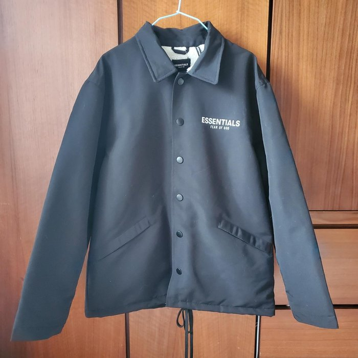 訂製實拍 ESSENTIALS新款保暖刷毛黑色外套 (S)