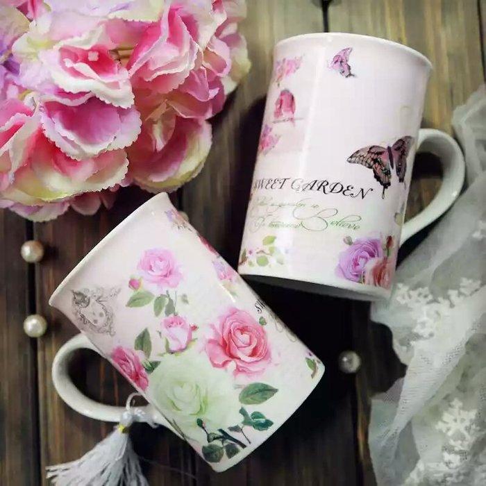 粉紅玫瑰精品屋~高檔玫瑰花語馬克杯組~對杯