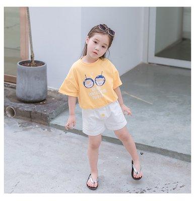 【Mr. Soar】 C4015 夏季新款 韓國style童裝女童黃色短T+白色短褲套裝 現貨
