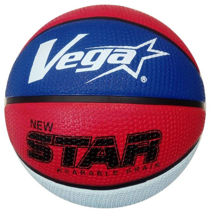 體育課 VEGA 7號籃球 獨家耐磨星星顆粒系列OBR-729S(藍/紅/白)  橡膠材質 國、高中和社會組用球大小#7