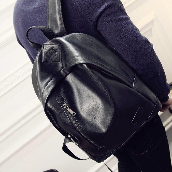 爆款-新款復古男士雙肩包英倫背包皮質雙肩男包中學生書包休閑韓版-禧禧雜貨店