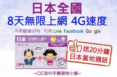 [CiCiBiYi 全球網卡小舖] 中國聯通4G日本 8天 吃到飽  送當地20分鐘通話
