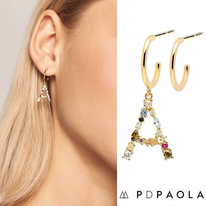 PD PAOLA 西班牙時尚潮牌 金色A字母耳環 彩鑽耳環 925純銀鑲18K金