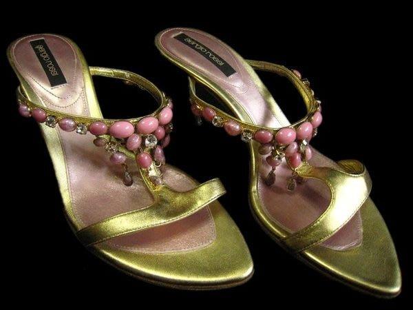 *Beauty*sergio rossi 金色羅馬涼鞋 綴粉紫寶石 華麗拜占廷風 36號