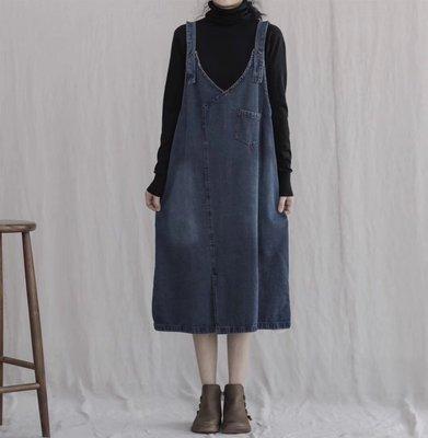 牛仔背心裙/秋裝新款減齡百搭背帶式牛仔裙(老銀屋)