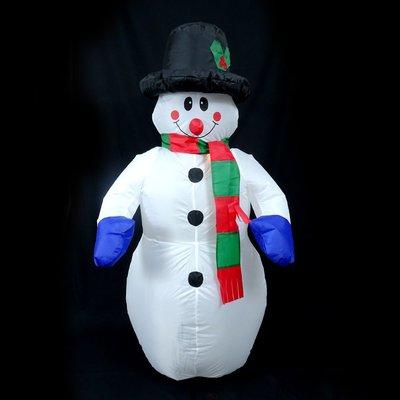 充氣雪人聖誕節派對佈置 1.2米充氣黑帽圍巾雪人(#Q1-20)