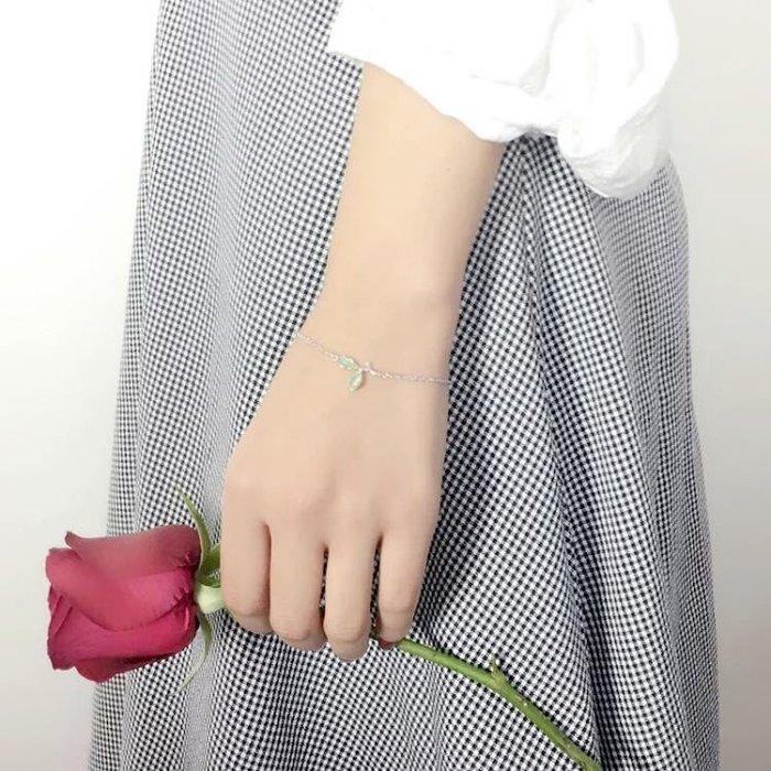 ☜男神閣☞S925銀嫩芽樹葉子手鍊女清新綠色貓眼石手飾學生閨蜜禮物