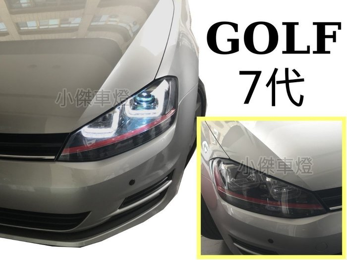 ╣小傑車燈精品╠ 全新GOLF 7代  2013 2014 GTI 類R8 U型導光 魚眼 大燈 (紅飾條) SONAR