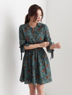 Queen.A  Closet 正韓商品全館『現貨』復古日系印花雙袖緞帶綁繩彈性高腰雪紡洋裝