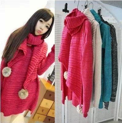 ☆女孩衣著☆歐美糖果色粗針長袖毛衣+毛球圍巾(NO.30)