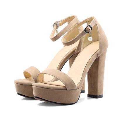大尺碼女鞋 小尺碼女鞋 大碼女鞋40-41 42 43 44 45防水臺百搭超高跟涼鞋子T臺走秀粗跟鞋