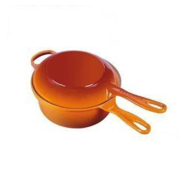 法國 LE CREUSET 鑄鐵鍋 醬汁烤盤兩用鍋 22cm 橘色/櫻桃紅
