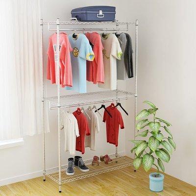 [客尊屋] 重型46X122X210H,雙層衣櫥, 鍍鉻層架,雙衣桿,衣服收納櫃,衣架