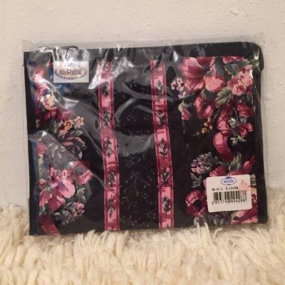 NaRaya 浪漫花朵圖樣黑色小包 收納包 曼谷包 化妝包