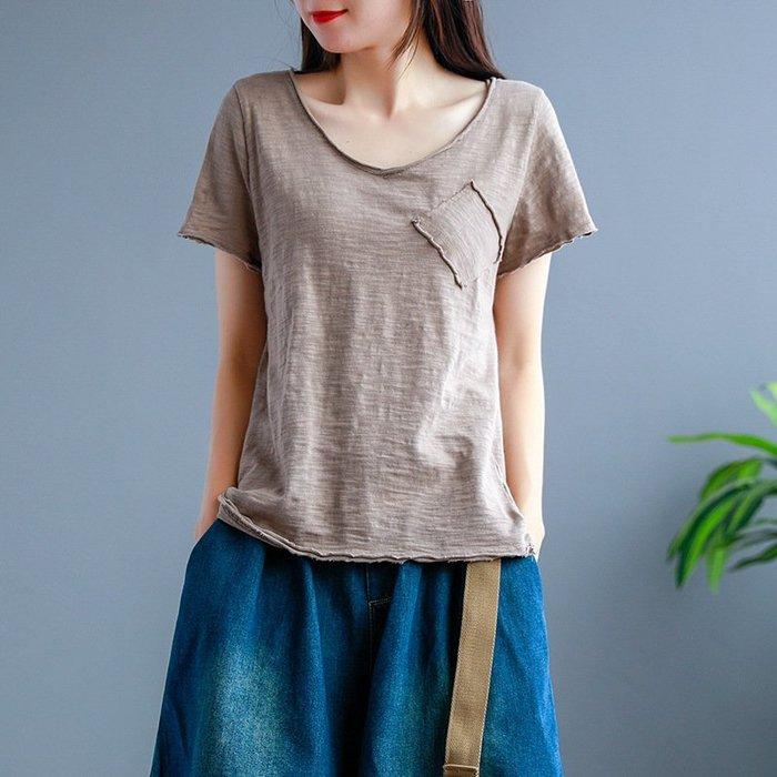 捲邊 竹節棉 短袖 立體口袋 上衣 T恤 ~ 7001