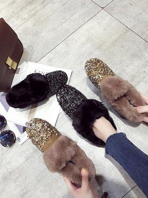 雪地靴冬季加絨亮片雪地靴女短筒毛毛平底加厚保暖棉鞋豆豆鞋包子靴    全館免運