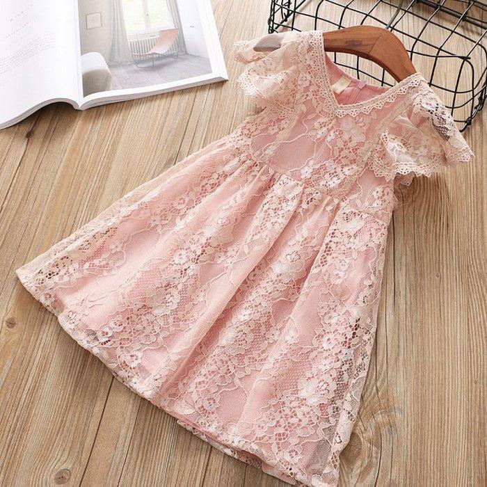 •*~ 辣媽咪衣飾小舖 ~*•❤童裝系列❤K940125韓版兒童夏款甜美可愛浪漫公主飛袖蕾絲禮服洋裝