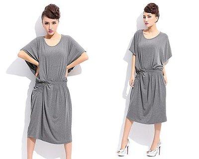 """春夏新款及膝大碼蝙蝠袖連衣裙""""超顯瘦""""潮衣款 """"只有灰色了"""