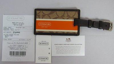 §Betty's日本古董&精品雜貨~保證真品 COACH橘色 咖啡底大C logo行李吊牌~