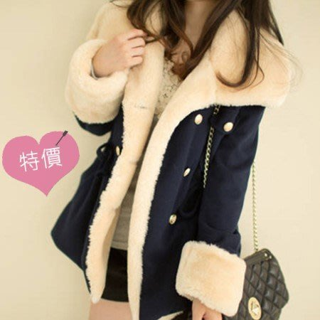 東大門平價鋪    羊羔絨斗篷大衣,女雙排扣風衣,女學生中長款加厚修身毛呢外套潮