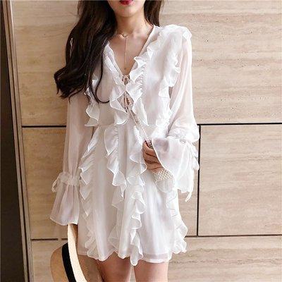 時尚女裙  氣質白色裙子春夏新款復古喇叭長袖木耳邊連衣裙V領綁帶雪紡裙女