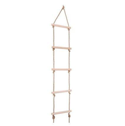 【奇滿來】兒童繩梯 木製攀爬梯 總長約150cm 戶外運動兒童軟梯 秋千 公園繩梯 學習梯5階 AFAM