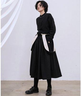 【鈷藍家】SU自制yohji山本風貓鬚毛邊雙層設計吊帶裙 背帶裙 半身裙 兩穿