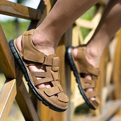 涼鞋 真皮拖鞋-清爽透氣舒適耐磨男鞋子2色73mi8[獨家進口][米蘭精品]
