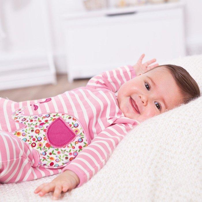 【兔寶寶部屋】英國JoJo Maman Bebe原裝進口-D7150粉紅條紋大象嬰兒連身衣(0-3 / 3-6個月)