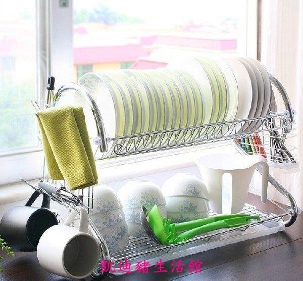 【凱迪豬生活館】潮土廚房置物架雙層滴水碗架瀝水架廚房置物收納架碗碟架瀝水架KTZ-200987