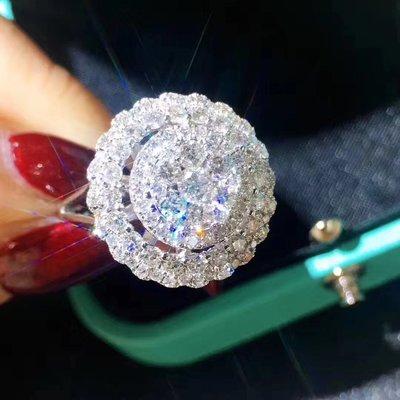 18K純金 天然鑽石法式鑲嵌捧花設計戒指1.48克拉 輕時尚訂製款