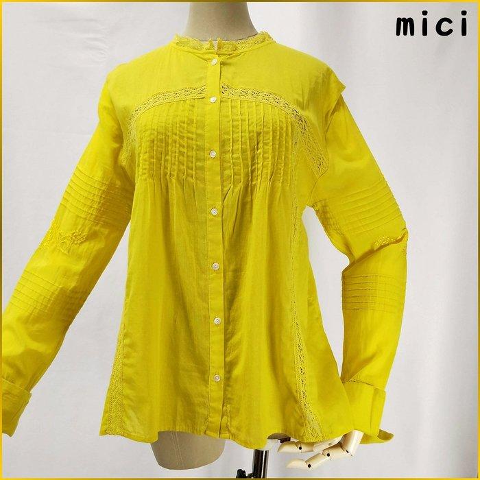 日本品牌✈️mici 蕾絲加邊 長袖上衣 印度棉 刺繡 黄色 寬鬆上衣 日本女裝 A326FR