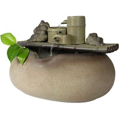 家居陶瓷竹排流水擺件風水輪招財辦公室加濕器電視柜裝飾噴泉水景小豬佩奇